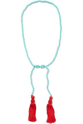 KENNETH JAY LANE Tasseled gold-plated beaded necklace