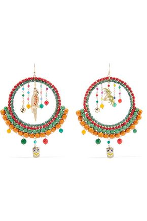 ROSANTICA Merida gold-tone, quartz and enamel earrings