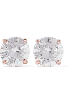 Kenneth Jay Lane Rose Gold Plated Cubic Zirconia Earrings
