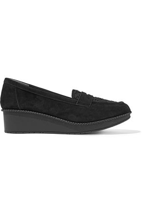 ROBERT CLERGERIE Valeria lace-paneled suede wedge loafers