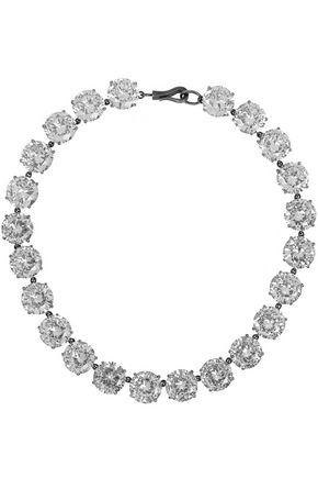 BOTTEGA VENETA Oxidized sterling silver cubic zirconia necklace