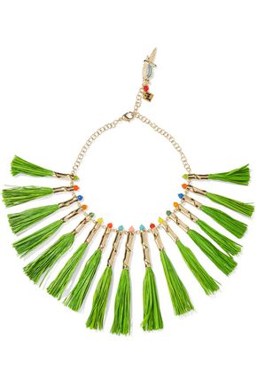ROSANTICA Aloha gold-tone, raffia and quartz necklace