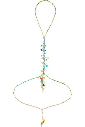 ROSANTICA Michelita gold-tone, pompom and quartz body chain