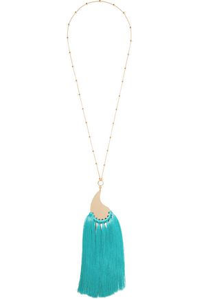 ETRO Gold-tone, tassel and stone necklace