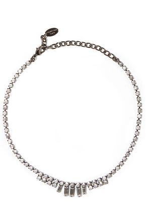 ELIZABETH COLE Gunmetal-tone Swarovski crystal necklace