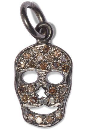 EYE M by ILEANA MAKRI Flat Skull oxidized sterling silver diamond pendant