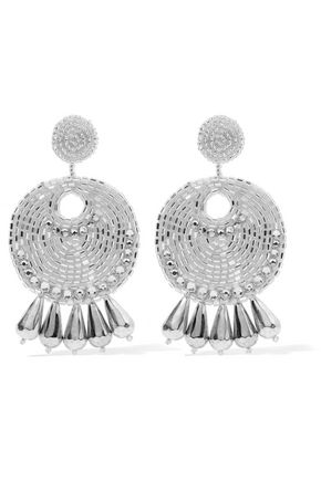 KENNETH JAY LANE Silver-tone beaded and crystal earrings