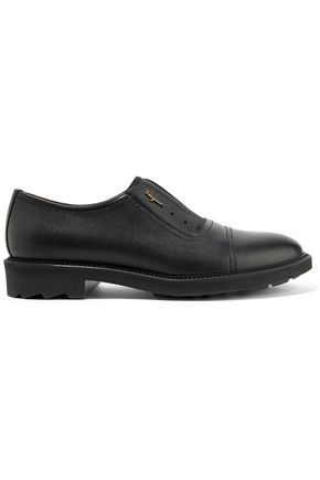 SALVATORE FERRAGAMO Ferdy stretch canvas-paneled leather brogues