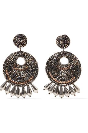 KENNETH JAY LANE Burnished gold-tone bead earrings