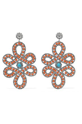 KENNETH JAY LANE Silver-tone crystal and cabochon earrings