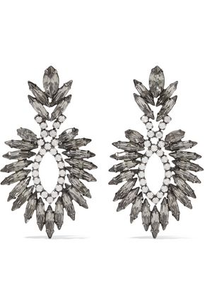 ELIZABETH COLE Beverly gunmetal-tone crystal earrings