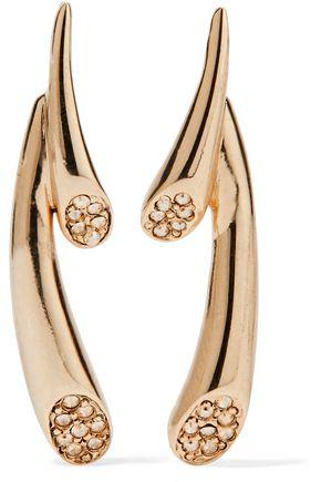OSCAR DE LA RENTA Comet gold-tone and crystal earrings
