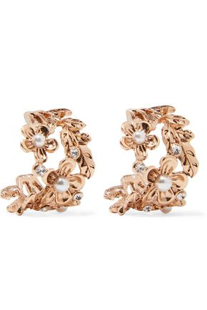 KENNETH JAY LANE Gold-tone crystal and faux pearl earrings
