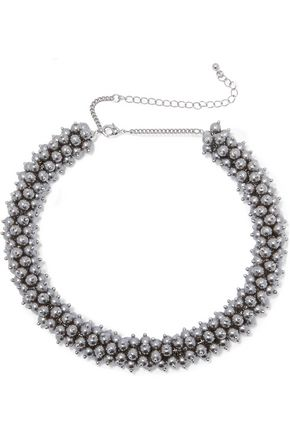 KENNETH JAY LANE Silver-tone faux pearl beaded necklace