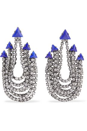 ELIZABETH COLE Raakel gunmetal-tone stone and crystal earrings