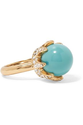 OSCAR DE LA RENTA Gold-tone cabochon and crystal ring