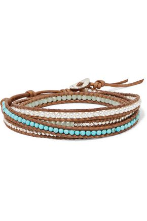 CHAN LUU Sterling silver beaded and faux pearl leather bracelet