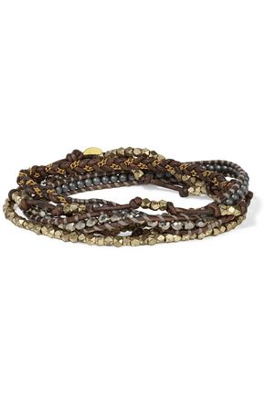 CHAN LUU Silver-tone beaded chain-trimmed leather bracelet