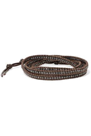 CHAN LUU Silver-plated beaded leather bracelet