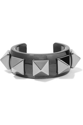 VALENTINO Rockstud resin and gunmetal-tone cuff