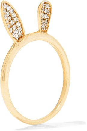 AAMAYA by PRIYANKA Bunny Ear gold-plated crystal ring