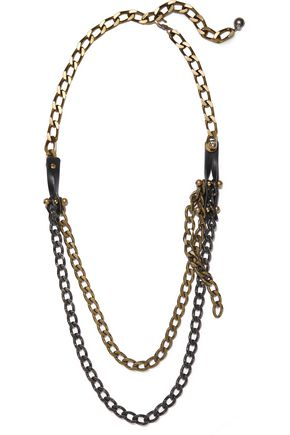 LANVIN Gunmetal, gold-tone and leather necklace