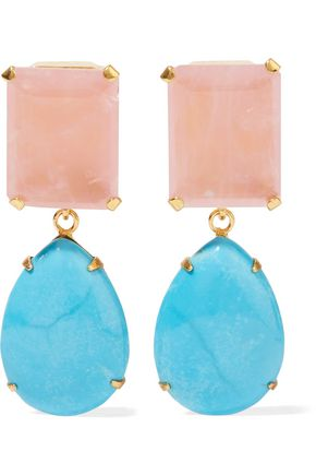 BOUNKIT Gold-tone, rose-quartz and turquoise earrings