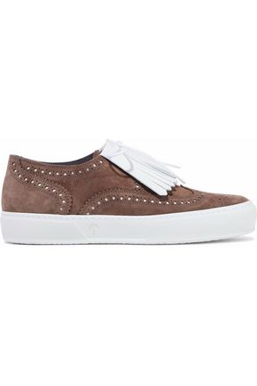 ROBERT CLERGERIE Tolka fringed leather and perforated suede sneakers