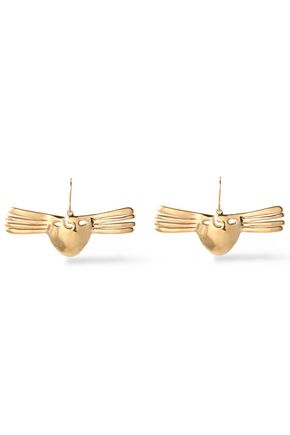 AURÉLIE BIDERMANN Hammered gold-tone earrings