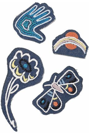 MIH JEANS Set of four embroidered denim patches