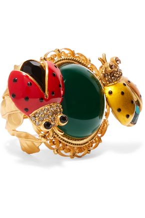 DOLCE & GABBANA Gold-plated, crystal and enamel ring