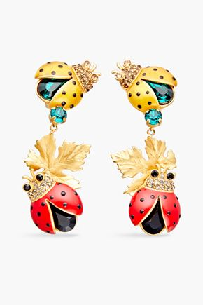 DOLCE & GABBANA Gold-plated, crystal and enamel clip earrings