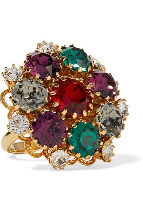 DOLCE & GABBANA Gold-tone crystal ring