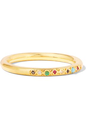 SCOSHA Gold-plated multi-stone ring