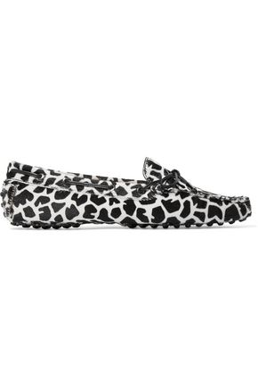 TOD'S Heaven bow-embellished leopard-print calf hair loafers