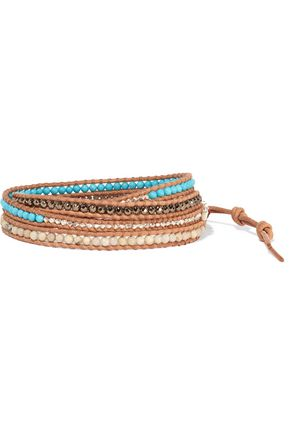 CHAN LUU Leather and silver multi-stone wrap bracelet