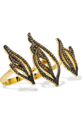 NOIR JEWELRY Sparks gold-tone crystal ring