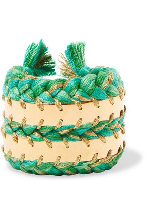 AURÉLIE BIDERMANN Copacabana 18-karat gold and braided cotton cuff