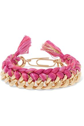 AURÉLIE BIDERMANN Do Brasil 18-karat gold-plated and braided cotton bracelet