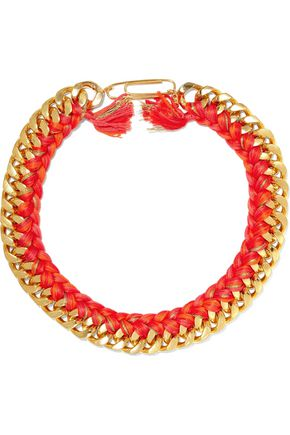 AURÉLIE BIDERMANN Do Brasil 18-karat gold-plated and braided cotton necklace
