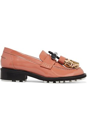 KENZO Embellished patent-leather loafers