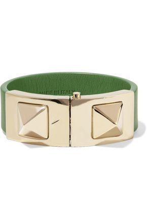 VALENTINO Rockstud leather and gold-tone bracelet