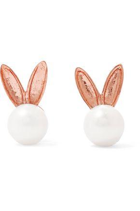AAMAYA by PRIYANKA Bunny rose gold-plated faux pearl earrings