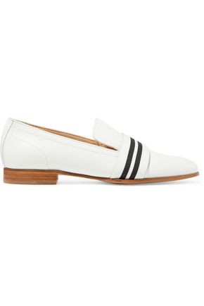 RAG & BONE Amber grosgrain-trimmed leather slippers