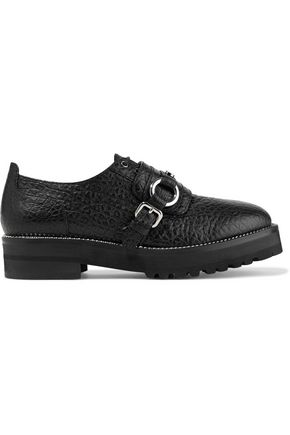 MOSCHINO Buckled textured-leather platform brogues