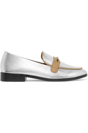 NEWBARK Melanie velvet-paneled patent-leather loafers