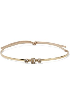 CORNELIA WEBB Gold-plated crystal and nubuck choker