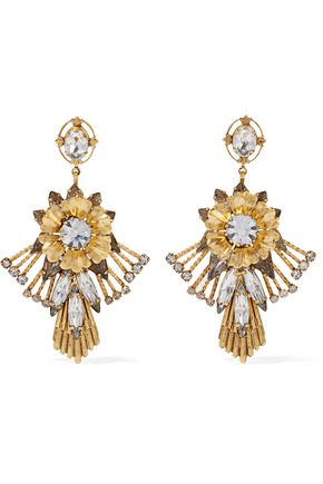 ELIZABETH COLE Alisanne 24-karat gold-plated crystal earrings