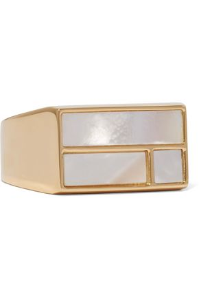 AURÉLIE BIDERMANN Bianca gold-plated mother-of-pearl ring