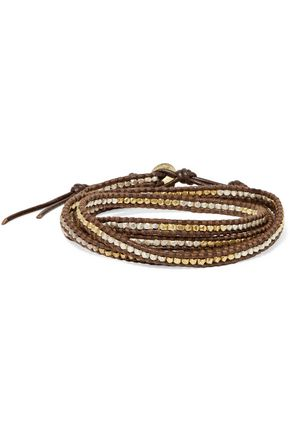 CHAN LUU Leather and cord gold-plated beaded wrap bracelet